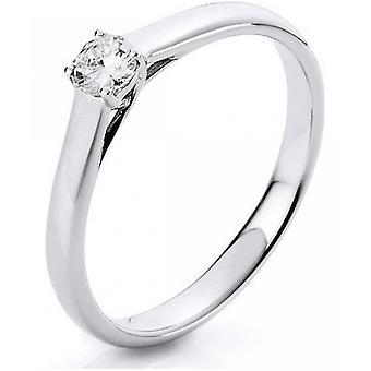 Bague en diamant - 18K 750/- or blanc - 0.2 ct. Taille 52