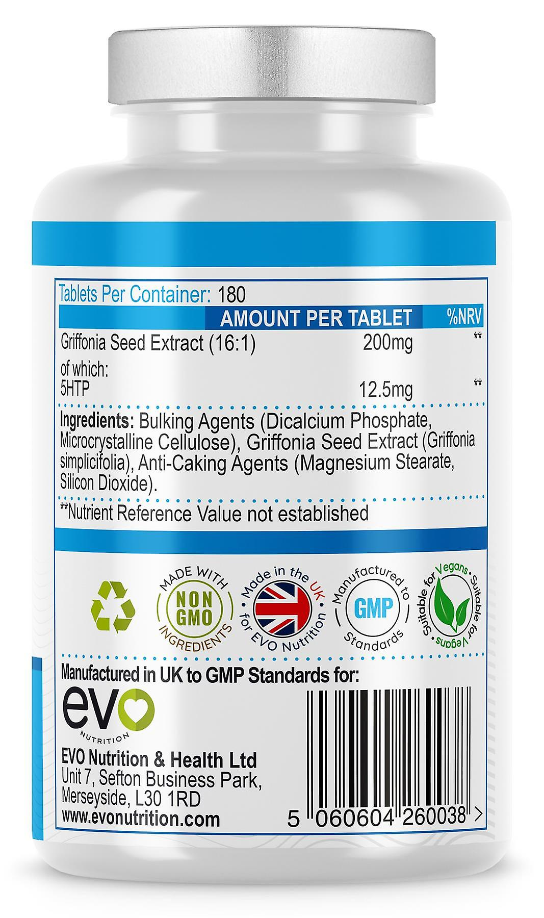5HTP (180 Tablets) 200mg for Stress and Anxiety Relief - Evo Nutrition