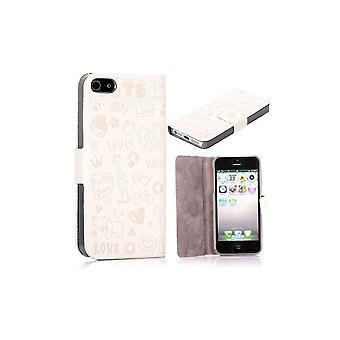 White Cover Magnetic Horizontal Opening Cartoon Pattern For IPhone 5