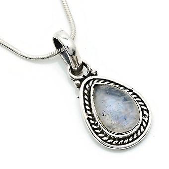 Pingente de corrente 925 Pedra da lua prata incl. corrente de prata (x 1 mm /no.147)