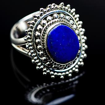Lapis Lazuli Ring Size 7.75 (925 Sterling Silver)  - Handmade Boho Vintage Jewelry RING979962