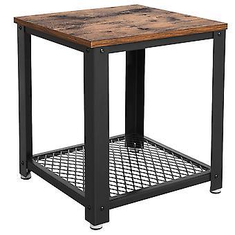 Mesa final de marco de metal con tapa de madera y estante inferior de malla ancha, marrón y negro