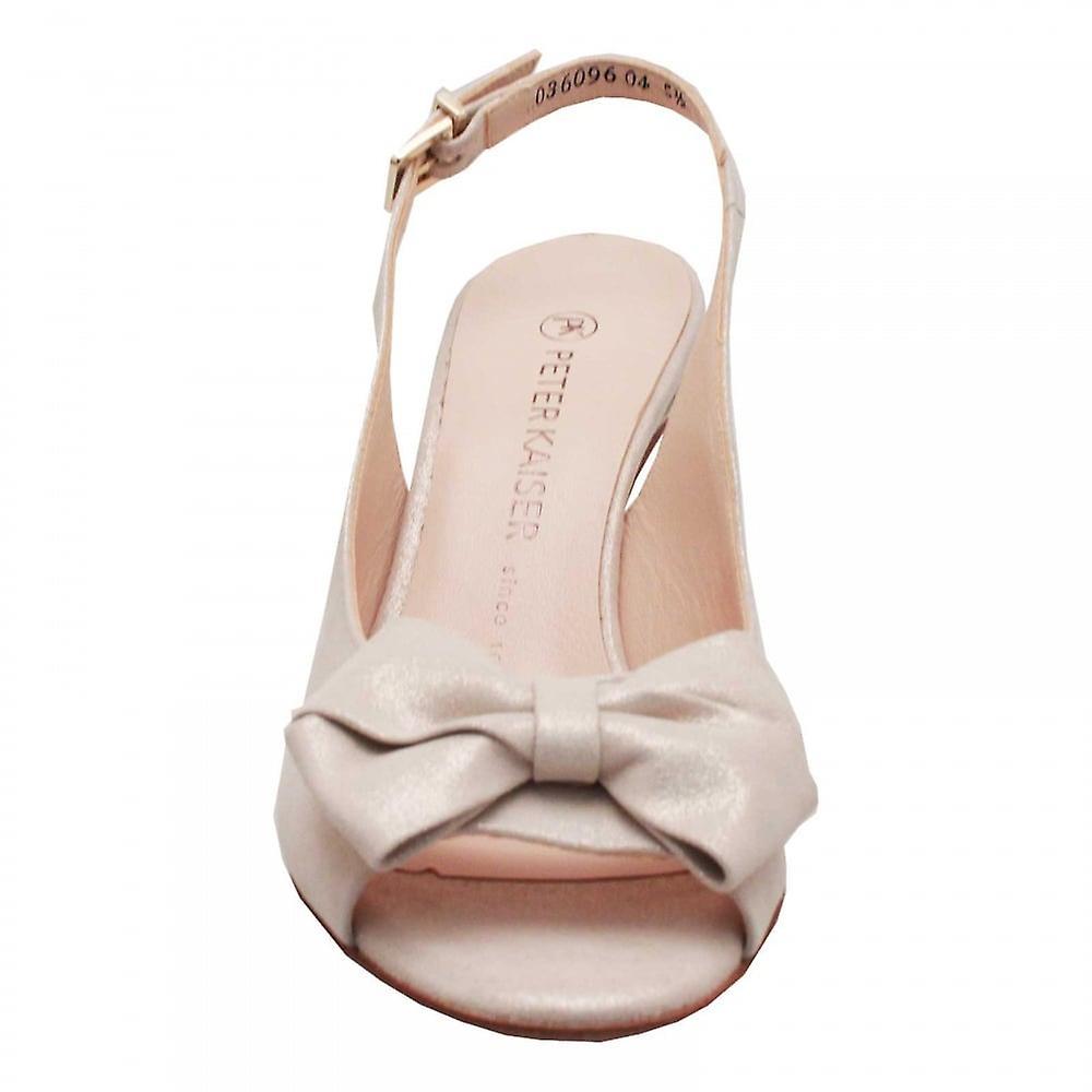 Peter Kaiser Berina Gold Sling Back Peep Toe High Heel Sandal