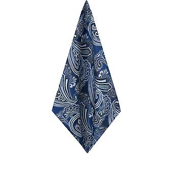 Dobell Mens Navy Paisley Jacquard Pocket Square