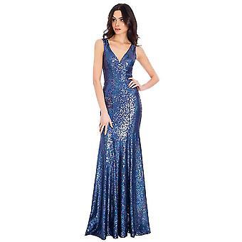 Goddiva Sequin V-Necked Maxi Dress