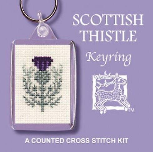Textile Heritage Counted Cross Stitch Keyring - Scottish Thistle