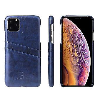 Voor iPhone 11 Case Deluxe Lederen Portemonnee Achterkant Shell Slanke Beschermhoes Blauw