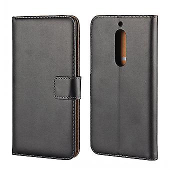 Wallet Case Nokia 5, genuine leather, black