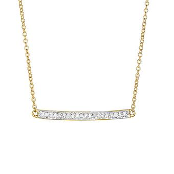 14k Yellow Gold Shiny Bar Necklace With 0.12ct. Diamond Lobster Clasp 18 Inch Jewelry Gifts for Women
