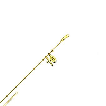 14k Yellow Gold 9 10 Inch Adjustable Station Virgin Mary and Religious Faith Cross 10 Inch Jewelry Gifts for Women
