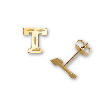 14k sárga arany levél neve személyre szabott monogram kezdeti T bélyegzés a fiúk vagy lányok fülbevaló intézkedések 6x6mm