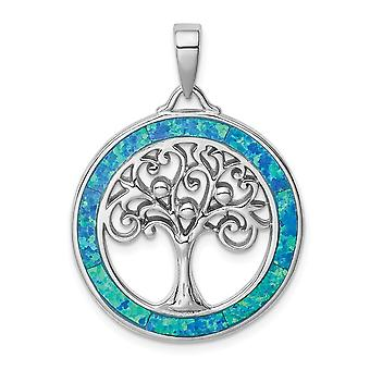 925 Sterling Silver Rhodium plated Simulated Opal Circle With Tree Pendant Necklace Jewelry Gifts for Women