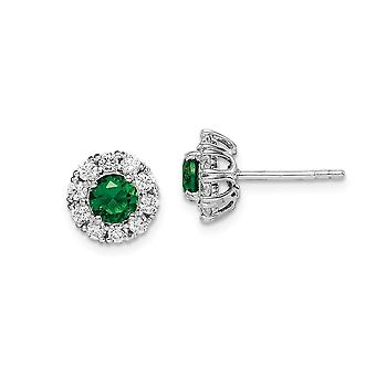 925 Sterling Silver Rhodium plated Green Glass and CZ Cubic Zirconia Simulated Diamond Halo Post Earrings Jewelry Gifts