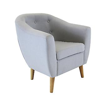 Charles Bentley Linen Tufted Upholstered Tub Button Armchair en gris moderne avec jambes en bois