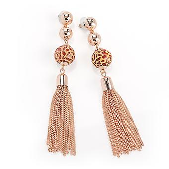 Rose Gold Colour Animal Print Bead Chain Tassel Earring
