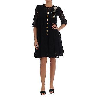 Dolce & Gabbana Black A-Line Taormina Lace Crystal Dress