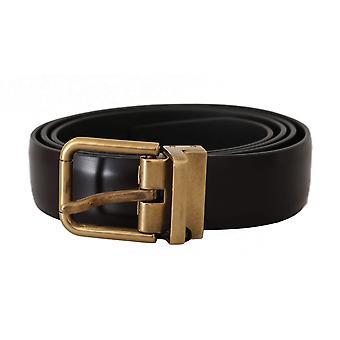 Dolce & Gabbana Brown Leather Logo Brushed Gold Buckle Belt
