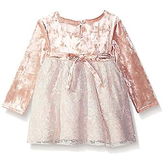 Youngland Baby Girls Velvet & Lace Dress with Sparkle Waistband, Pink, 6-9 Mo...
