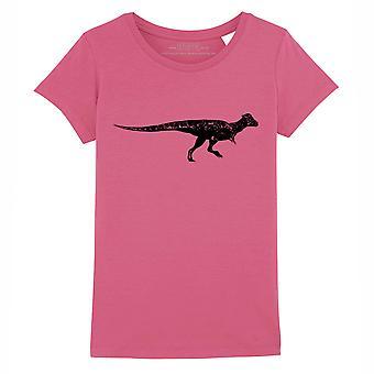 STUFF4 Girl's Round Neck T-Shirt/Dinosaur/Pachycephalosaurus/Dark Pink