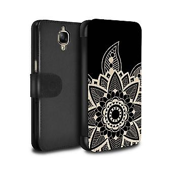 STUFF4 PU Leather Wallet Flip Case/Cover for OnePlus 3/3T/Snowflake/Henna Tattoo