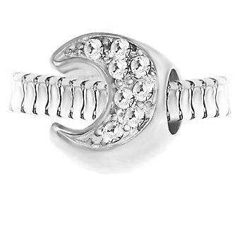 Charm pärla månen orn kristaller och stål av SC Crystal BEA0046