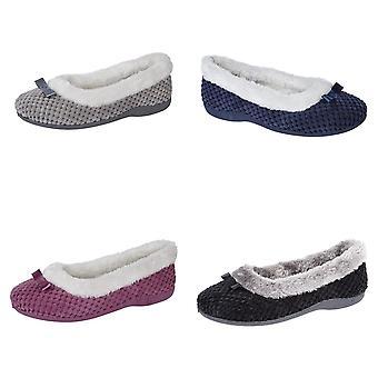 Sleepers Womens/Ladies Karina Faux Fur Memory Foam Slippers