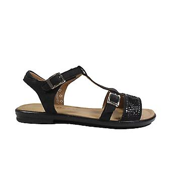 Ricosta Bella 7020800-91 Black Leather Girls T Bar Sandals