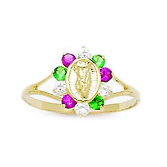 14k Yellow Gold Red and Green CZ Cubic Zirconia Simulated Diamond Size 5.5 Virgin Mary for boys or girls Ring