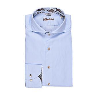 Stenstroms Fitted Long Sleeved Shirt Blue Stripe