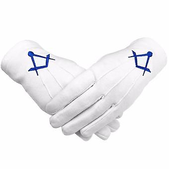 Masonic cotton gloves thin square and compass machine embroidery 2 x pair