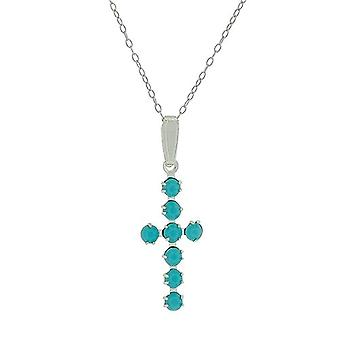 S. Silver Blue/Green Crystal Cross Pendant  on Chain by TOC