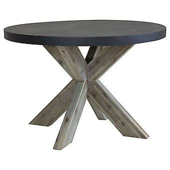 Charles Bentley Round Fibre Cement & Acacia Wood Industrial Inomhus Utomhus Matbord - Grå & Vit Tvättat Trä