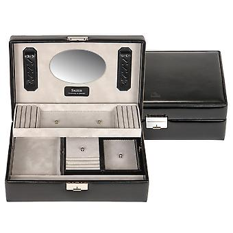Sacher sieraden geval sieraden doos zwart hout met leer afsluitbare reiskoffer