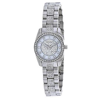 Bulova Women's Crystal White Mother of pearl Dial Watch - 96L253