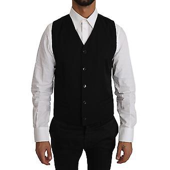 Dolce & Gabbana Black Solid 100% Wool Waistcoat Vest -- TSH2992688