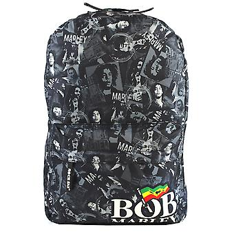 Rock Sax Bob Marley Rucksack Collage Black and White Backpack
