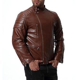 Allthemen Men's PU Leather Coat Thick Warm Autumn&Winter Fashion Leather Jacket