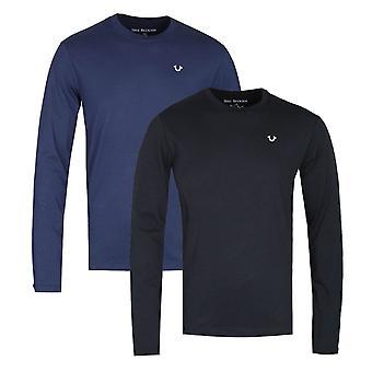 Wahre Religion Zwei-Pack Langarm Marine & schwarze T-Shirts