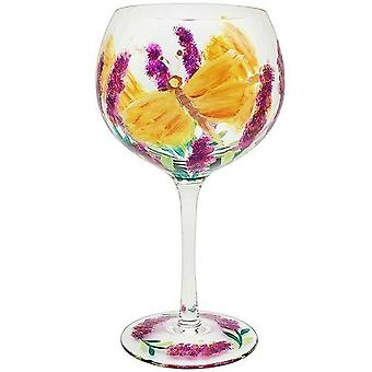 Lynsey Johnstone Hand Painted Butterfly Flower Gin Glass