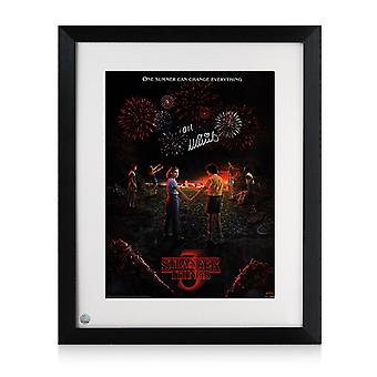 Millie Bobby Brown Signed Stranger Things Season 3 Poster. Framed