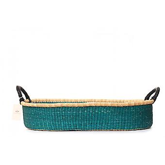 Cosy Coco Handwoven Grass Changing Basket With Pad | Blue Shade
