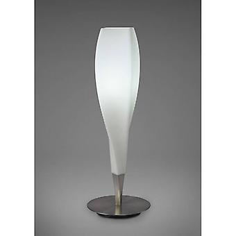 Table Lamp Neo 1 Bulb E27, Satin Nickel / Frosted White Glass