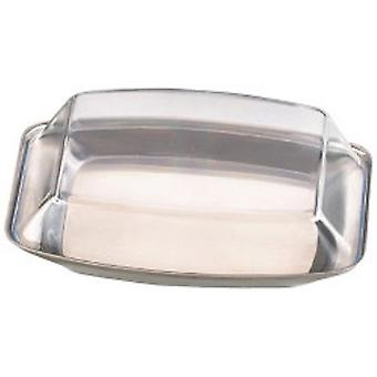 Zodiac Stainless Steel Butter Dish With Plastic Lid