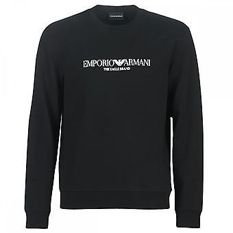Emporio Armani Okrągła szyja Gumowana logo Czarna bluza