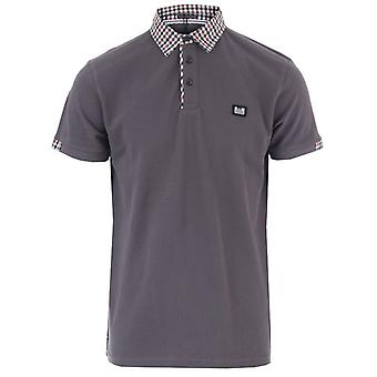 Mannen's Weekend Offender Amalfi Check Collar Polo Shirts in Grey