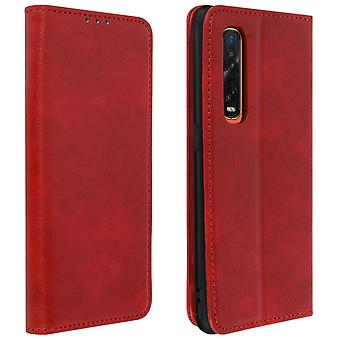 Protective Case Oppo Find X2 Pro Genuine Leather Cardholder Video Holder Red