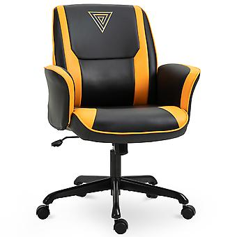 Vinsetto PU Leather Tub Seat Office Chair w/ Yellow Panels Wheels Mid-Back Armrests Ergonomic Comfort Home Office Gaming Black Yellow