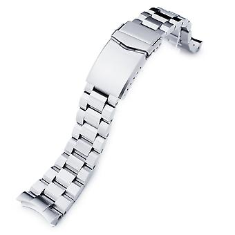 Strapcode watch bracelet 22mm hexad 316l stainless steel watch bracelet for seiko 5, brushed v-clasp
