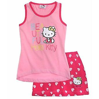 Hello kitty girls tank top with skirt - fuchsia