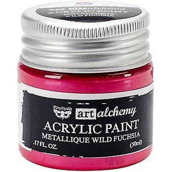 Finnabair Art Alchemy Acrylic Paint Metallique Wild Fuchsia